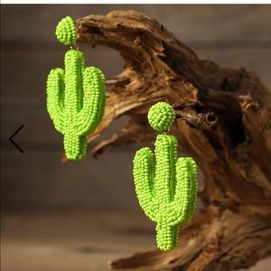 Beaded Green Cactus Statement Earrings NEW